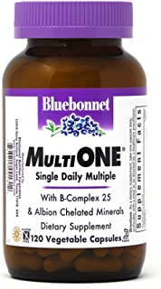 Bluebonnet Nutrition Multi One (With Iron) Vegetable Capsules, Complete Full Spectrum Multiple Vitamin Supplement, B Vitam...