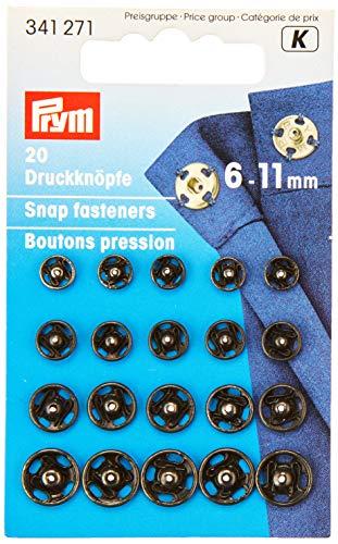 Prym Druckknöpfe zum Aufnähen, 6-11 mm, aus Messing, in Schwarz, 20 Stück