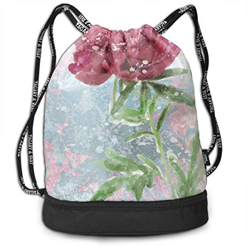 DPASIi Mochilas con cordón para el día, diseño de peonía, flores turbias, naturaleza, belleza, crecimiento retro, cierre de cuerda ajustable
