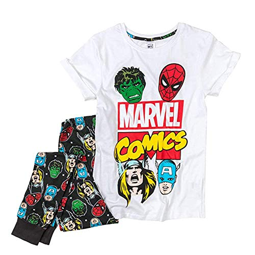 Fashion by Purdashian Disney/Marvel Character Damen Schlafanzug aus Baumwolle, Pyjama-Sets für Frauen Gr. Small, Marvel - Design 2
