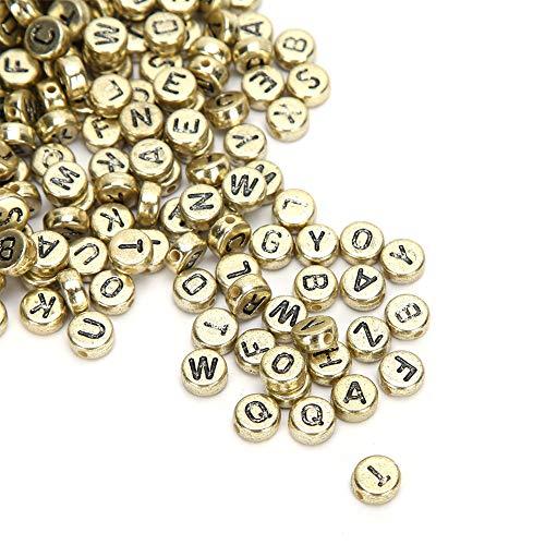 500 piezas creativo encantador alfabeto A-Z cuentas acrílicas cuentas acrílicas letras pulseras fabricación de joyas para ropa llaveros(Golden)