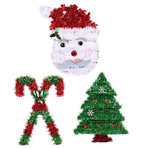 TOYANDONA Christmas Door Hanging Tinsel Wreath Xmas Wall Hanging Sign Sparkling Tinsel Door Fireplace Hanger Santa Claus Tree Twin Crutches for Winter Holiday Home Christmas Decoration 3pcs