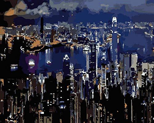 GenericBrands Pintura por números para Adultos City Night DIY Pintura al óleo acrílica para Adultos Principiantes con Pinceles y Pigmento acrílico, 16 x 20 Pulgadas sin Marco
