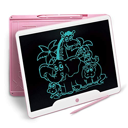 Richgv 15 Zoll LCD Writing Tablet mit Anti-Clearance Funktion und Stift, Digital Ewriter Grafiktabletts Schreibtafel Papierlos Notepad Doodle Board(Rosa)