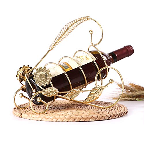 LMZX Estante de Vino Retro Botella de Vino en Forma de Girasol Soporte de Almacenamiento de Mesa para Vino decoración del hogar Bar Bodega Sótano Gabinete Pantrye Rack Stand Beer,Oro