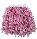 L'VOW Damen Gothic Federn Rock Mini Elastische Taille Federrock Karneval Kostüm (Staubiges Rosa,...