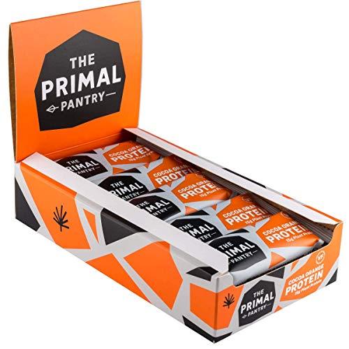 The Primal Pantry Protein Bars - Cocoa Orange -15 x 55g - Dairy Free, Gluten Free, SOYA Free, Vegan Protein, Paleo, 12g of Plant Protein per bar, Hemp Protein- Qty 15