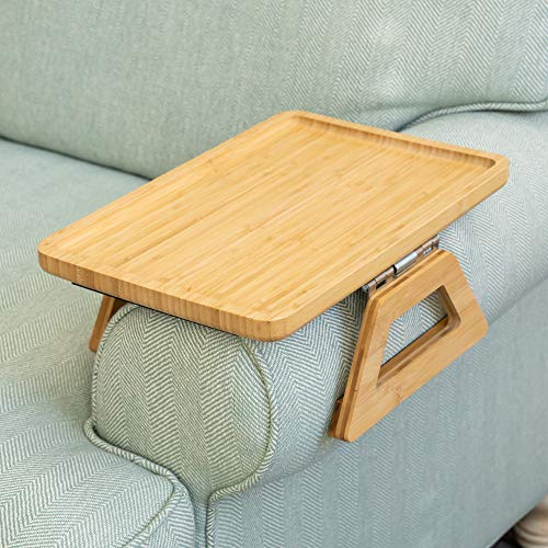 Signature Home Clip On Tray Sofa Table for Wide Couches Couch Arm Tray Table Portable Table TV Table and Side Tables for Small Spaces Stable Sofa Arm Table for Eating and Drink Table