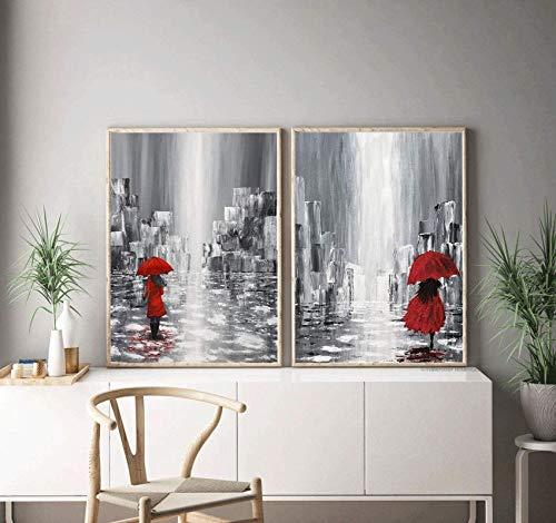 SXXRZA Arte de la Lona 2 Piezas 60x80cm Sin Marco Arte de Pared romántico Pareja Enamorada bajo el Paraguas Rojo Conjunto de Arte Minimalista, Arte de la Pared del Dormitorio Decoración del hogar