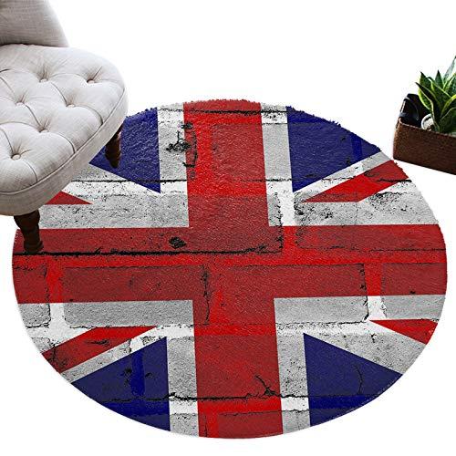 Tapis rond Union Jack doux et confortable - Tapis à poils longs - Rouge et bleu - Tapis de sol à poils longs pour salon, chambre à coucher, chambre d