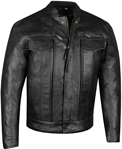 Men s Commuter Premium Natural Buffalo Armor Motorcycle Leather Biker Jacket L product image