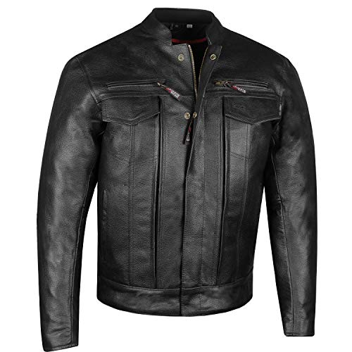 Men's Commuter Premium Natural Buffalo Armor Motorcycle Leather Biker Jacket M