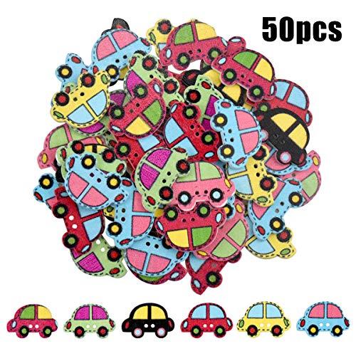 kissral Holz Knopf, 50 Stück Handmade Holzknöpfe, Mischfarbe Niedliche Bastelknöpfe für Hemd Strickjacken Nähen und Handwerk-Cartoon Auto