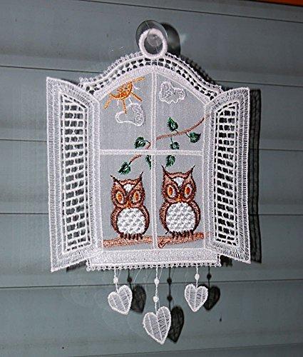 Fensterbild Plauener Spitze Weiß Stickerei Eulen am Fenster, Made in Germany