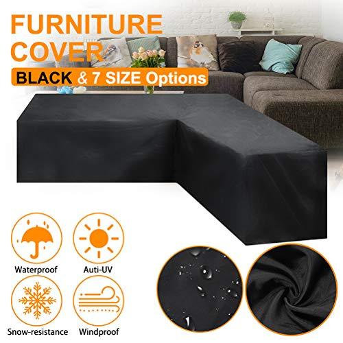 AIJIANG Cubierta Antipolvo para sofá 286 * 222 * 82 cm Cubierta Antipolvo para sofá de Esquina Impermeable Cubiertas para Muebles de jardín Fundas para sofá Resistentes al Viento para Patio Exterior
