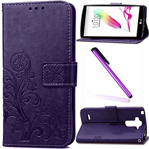 LG G Stylo Case,LG G4 Stylus Case (Not Fit LG G4),LG LS770 Case,LEECO Kickstand Built-in Card Slots Wallet PU Leather Protective Case Cover for LG G Stylo/LS770/G4 Stylus Luck Clover Purple