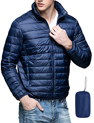 Men's Lightweight Down Jacket Packable Stand Collar Water Repellent Outwear Puffer Down Jacket Navy