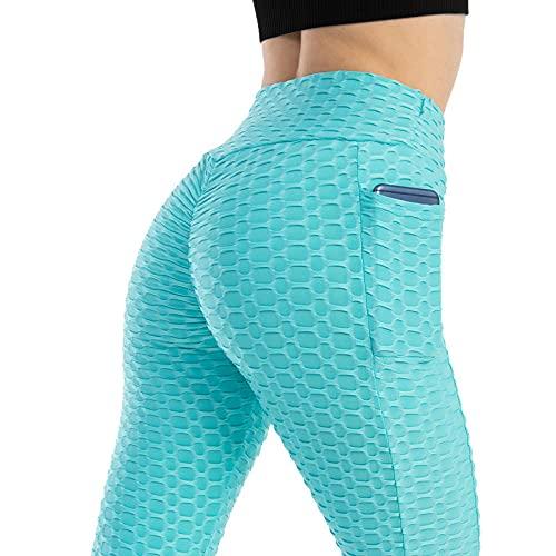MQQM Deporte opacos Pantalones,Pantalones de Yoga de Cadera Altos y elásticos, Burbujas de Bolsillo Aptitud Pantalones-Cielo Azul_L,Elásticos Leggings Push Pantalones