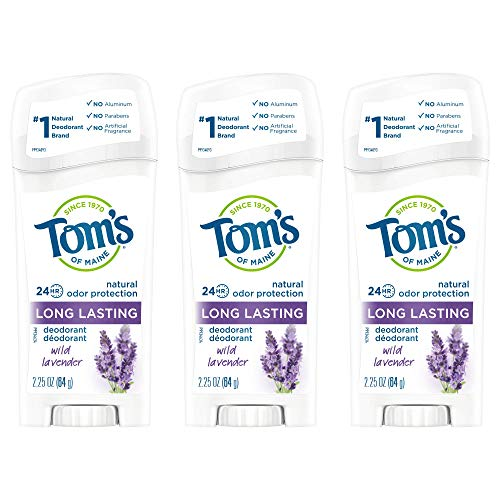 Tom's of Maine Long-Lasting Aluminum-Free Natural Deodorant for Women, Wild Lavender, 2.25 oz. 3-Pack