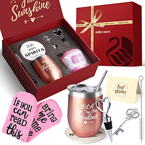Wine Tumbler Gift Set For Women - Fun Birthday Gifts for Her, Wife,...