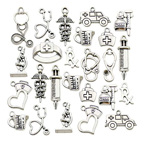 Youdiyla 70 Doctor Charms Collection, Nurse Stethoscope Ambulance Double Snake Stick Nurse Cap with Love Rx Letter Microscope Measuring Cup Syringe Charms Metal Pendant Craft Findings (HM297)