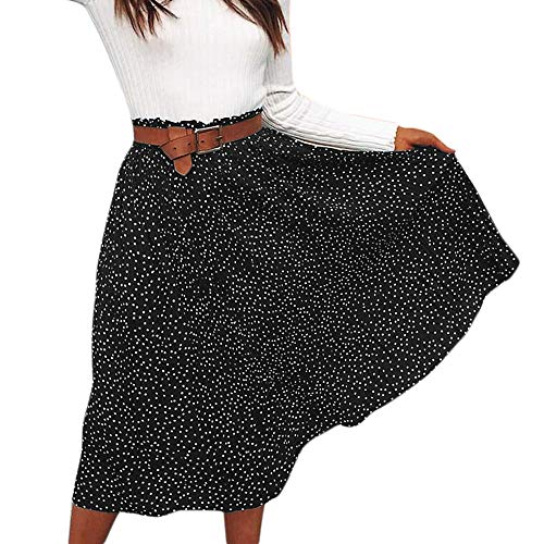 Best Buy! Qiujold Women's Bohemian Style Elastic high Waist Polka Dot Long Maxi Skirt Dress Black