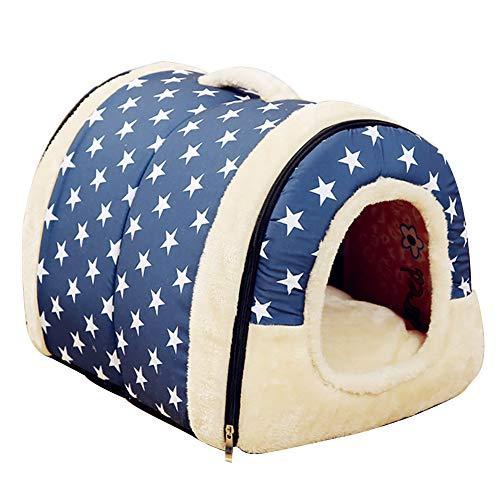yijkgfh Huisdier Bedden, Zacht Warm Ster Patroon 2 In 1 Huisdier Nest Antislip Hond Kat Bed Opvouwbaar Winter Zachte Gezellige Slaapzak Mat Pad Kussens, 70x55cm(28x22inch), F