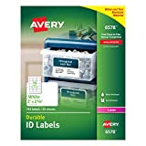 Avery Durable White Cover Up ID Labels for Laser Printers, 2' x 2.625', Pack of 750 (6578)