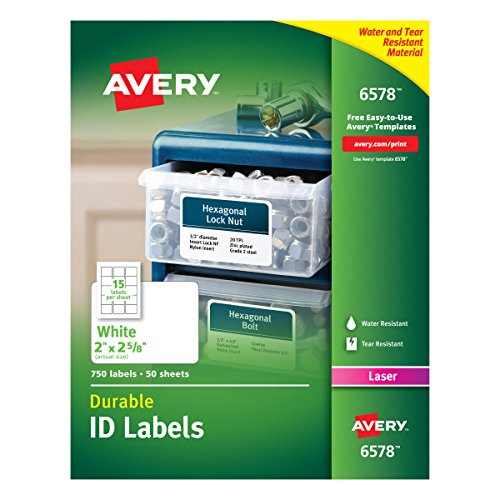 """Avery Durable White Cover Up ID Labels for Laser Printers, 2"""" x 2.625"""", Pack of 750 (6578)"""