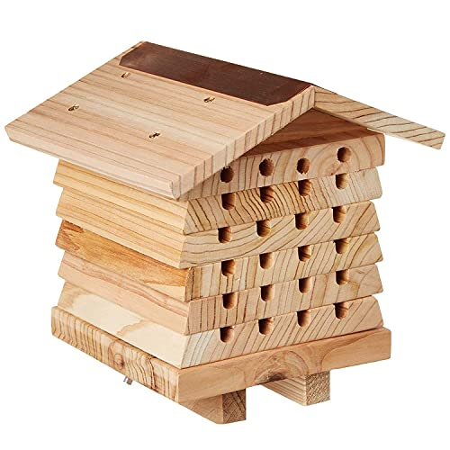 EXEDSCEND Multi Habitat Insect House Outdoor Garden Decorative Insect Hotels for Bee Butterfly and Beetle Tree of Life, Natural Wood Insect Home Bamboo Nesting Habitat, Garden Shelter