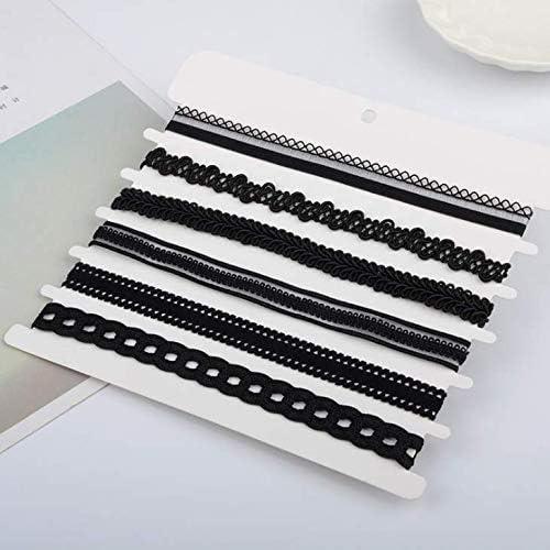 Aeyistry 6Pcs Black Choker Necklace Set Adjustable Black Collar Necklaces(Black)