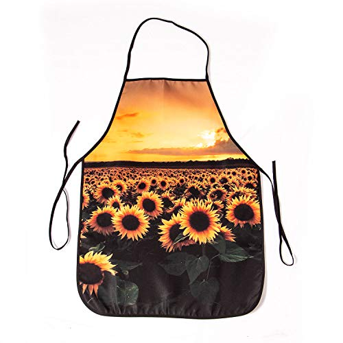 aportt Unisex Sunflower Apron Colorful Flower Aprons Sunset Cooking Apron Durable Floral Bib Romantic Kitchen Accessories Bibs with Standards Straps for Gardening Painting Party