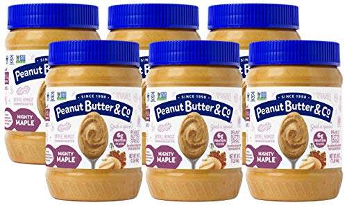 Peanut Butter & Co. Mighty Maple Peanut Butter, Non-GMO, Gluten Free, Vegan, 16 Ounce (Pack of 6)