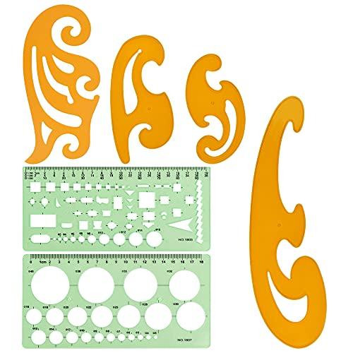 QUCUMER 6 Pcs Plantilla de Curvas Plantillas Dibujo Tecnico Reglas Curva Reglas Circulares Regla Formas Geometricas Plantilla de Curvas Dibujo Tecnico para Curvas Circulos Ovalos Figuras Geometricas