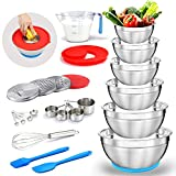 Mixing Bowls Set, MIKULA Stainless Steel Nesting Bowls Metal Mixing Bowl with 9.4' Lid & Graters...