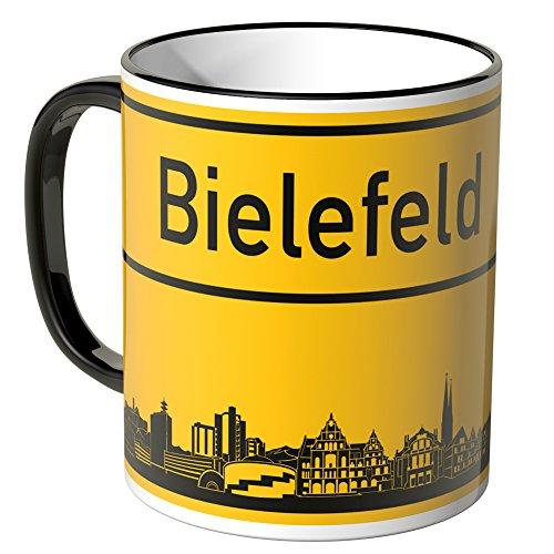 WANDKINGS® Tasse, Skyline Bielefeld - SCHWARZ