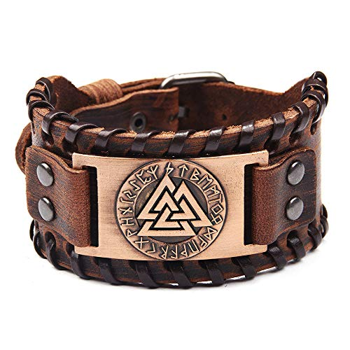 León Jewelry Odin Valknut Viking Vintage Wide Wristband Cuff Bangle Leather Bracelet Norse Mythology Gods Cosplay Costume Brown