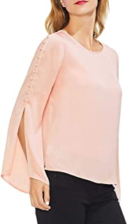 Vince Camuto Womens Button Bell Sleeve Hammer Satin Blouse
