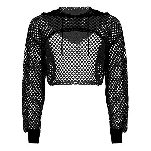 FEESHOW Women's Mesh Fishnet Hollow Out Long Sleeve Pullover Crop Top Hoodie Shirts Black Fishnet S