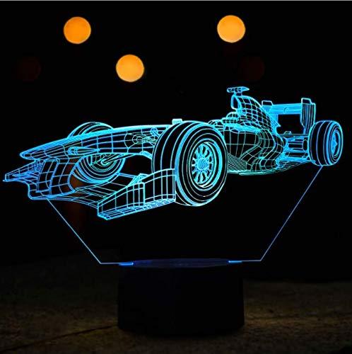3D luz nocturna lámpara de ilusión luces LED F1 coche 7 colores carga remota decoraciones táctiles regalos de cumpleaños para niños 3D luces de ilusión óptica