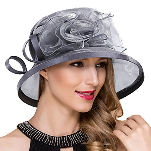 Ruphedy Damen Ascot Derby Kirche Sonnenhut Britische Hochzeit Tee Party Hüte S051 (S043-Grau)