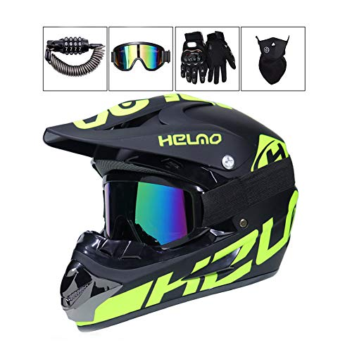 Motocross Helm Erwachsene Herren Damen Crosshelm mit Brille Maske Handschuhe Zahlenschloss, Schwarz Grün Motorrad Offroad Motorradhelm Downhillhelm Endurohelm Quadhelm MTB ATV BMX Motorräder Helm,L