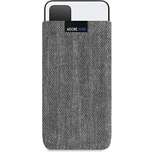 Adore June Business Tasche kompatibel mit Google Pixel 4 Handytasche aus charakteristischem Fischgrat Stoff - Grau/Schwarz, Schutztasche Zubehör mit Bildschirm Reinigungs-Effekt