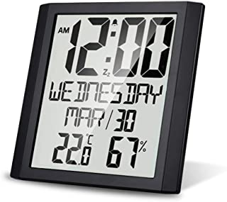 Mengshen Digital Wall Clock,Large Screen Indoor Temperature & Humidity Digital Clock with TN Display, Mute-Travel Time Sui...