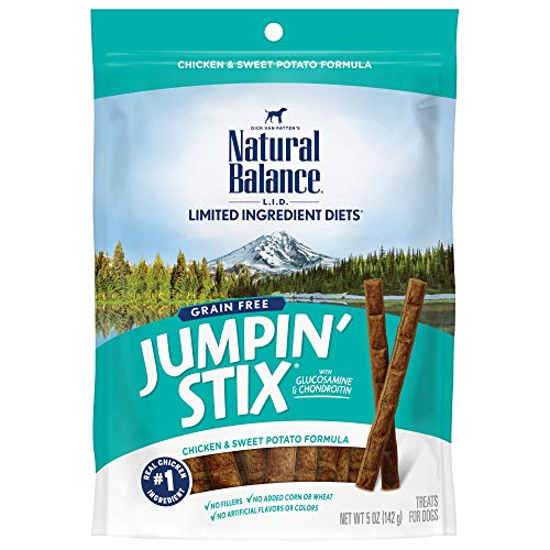 Natural Balance L.I.D. Limited Ingredient Diets Jumpin' Stix Dog Treats, Chicken & Sweet Potato Formula, 5 Ounces, Grain Free