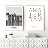WADPJ Países Bajos Amsterdam Paisaje Foto Lienzo Pintura Arte de la Pared Imagen Ciudad Cartel Amsterdam Coordenadas Impresiones-50x70cmx2 Piezas sin Marco