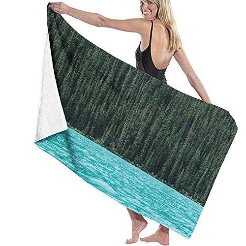 CASU Beach Towel Hohe Bäume im hohen Wald durch das Fluss-Badetuch Mikrofaser-super saugfähige Pers5onlichkeit-Badetuch-schnell trocknende Strand-Decke