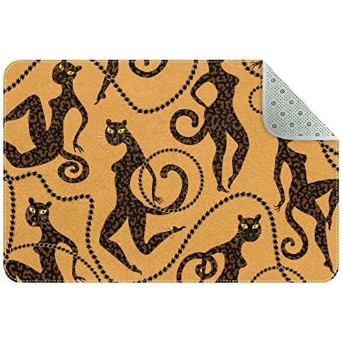 Bennigiry Leopardo y Jaguar con cadenas de joyería doradas, anillos, pulsera, zona de cinturón, alfombra de entrada para sala de estar, dormitorio, sala de juegos, 61 x 40 cm