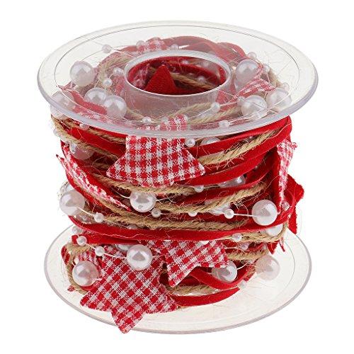 Gazechimp 5 Meter Rote spiztenband Spitzenbordüre Spitzenborte Trimmt Näh Applikation Für Weihnachts Handwerk