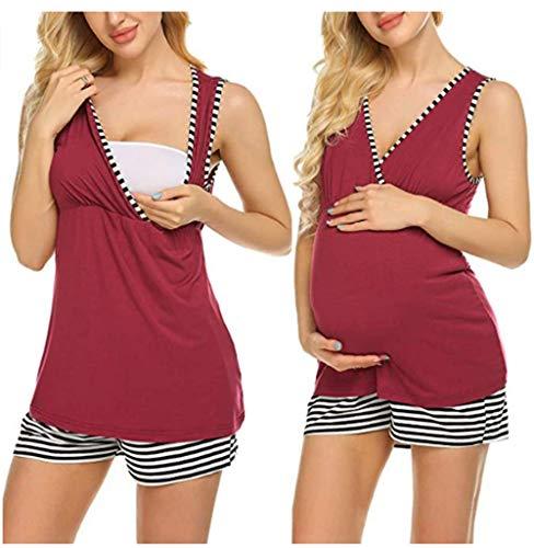 Unibelle Damen Stillpyjama Stillfunktion Stillschlafanzug Ärmellos Kontrast Stillshirt Mittelgrau XL